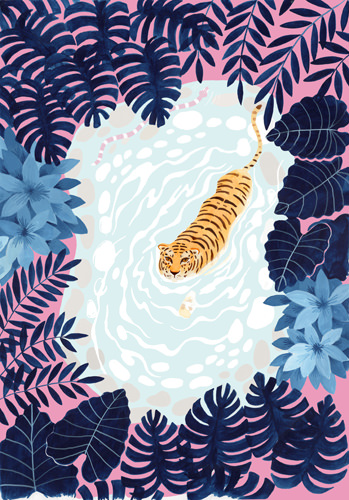 Swimming Tiger copyright Bex Parkin