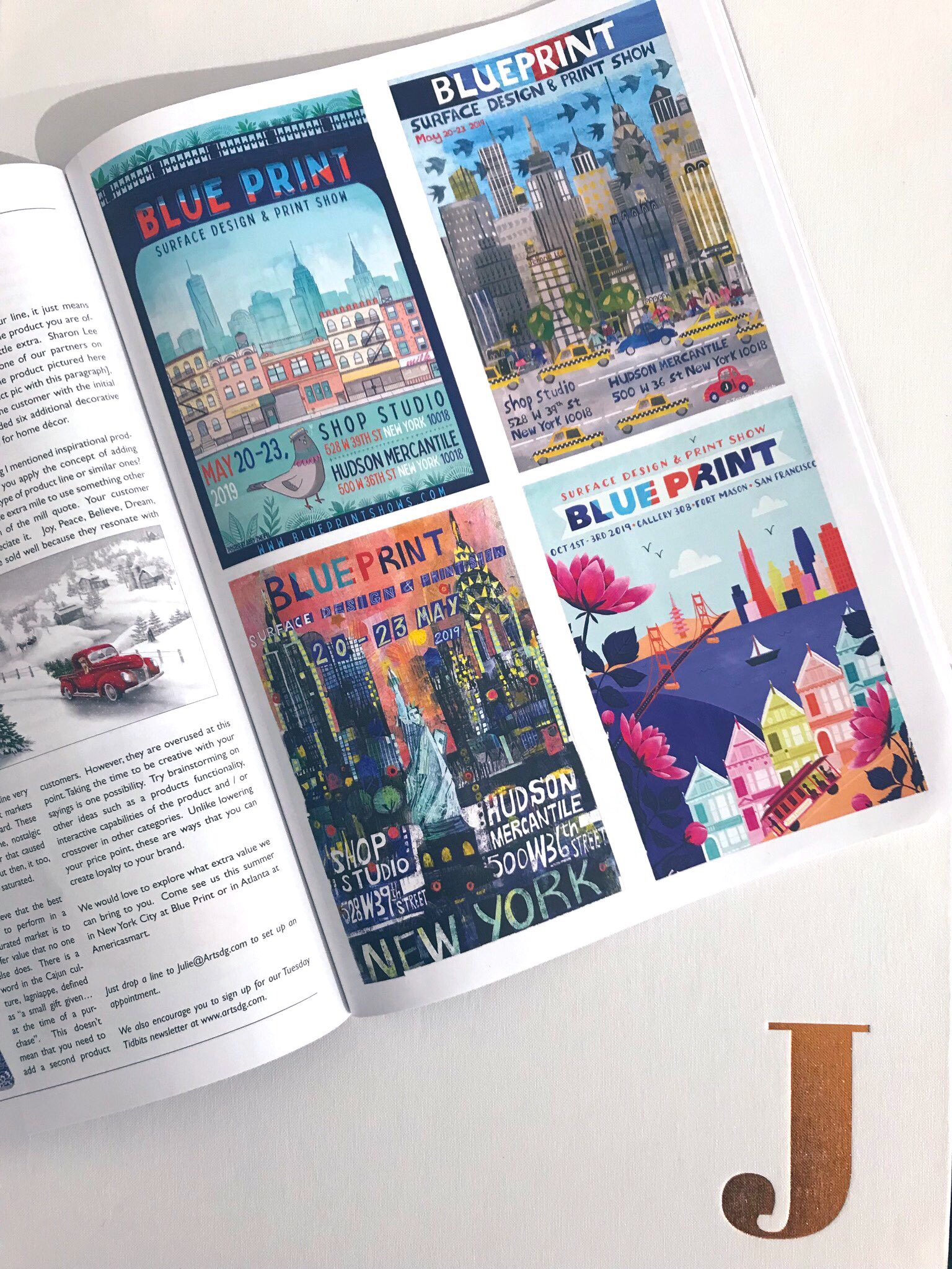 TOTAL LICENSING SUMMER ISSUE - Tracey English's image of New York City as chosen for one of three Blueprint posters for the 2019 May show features in Total's summer issue.All three posters are shown left alongside the San Francisco poster.Tracey's image shows the iconic city skyline of NYC - available to licenseJEHANE Ltd