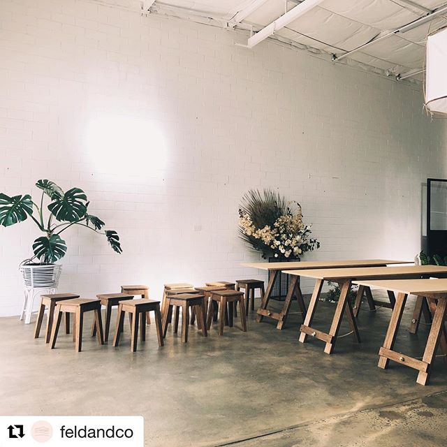 Morning delivery for @feldandco 3x Trestle tables with a new leg design which allows more seating and 12 cute little stools. It's been lovely making furniture for this beautiful space. #fremantle #furniture #furnituredesign #maker #freo #perth #craftsman #trestletables #trestle #ply #birchply #osmo #eventspace