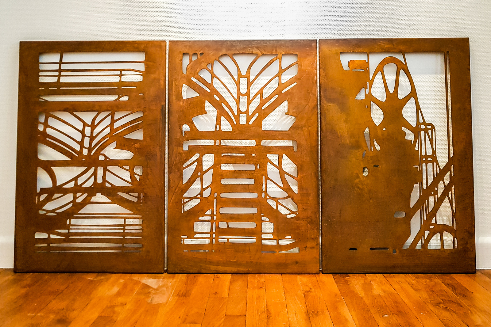 triptych of shadows of industrial past - Metal Plates180 x 90 cm (3 pieces)EUR 10.000
