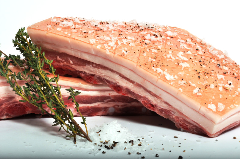 pork belly - Pork Belly is from the lower Belly region where the Spare Ribs are retained, contributing more succulence to the finished cut. With its unique interlayers of meat, this cut provides an amazing flavour profile when slow roasted or pan fried. The rind can be retained and knife scored to produe crackling