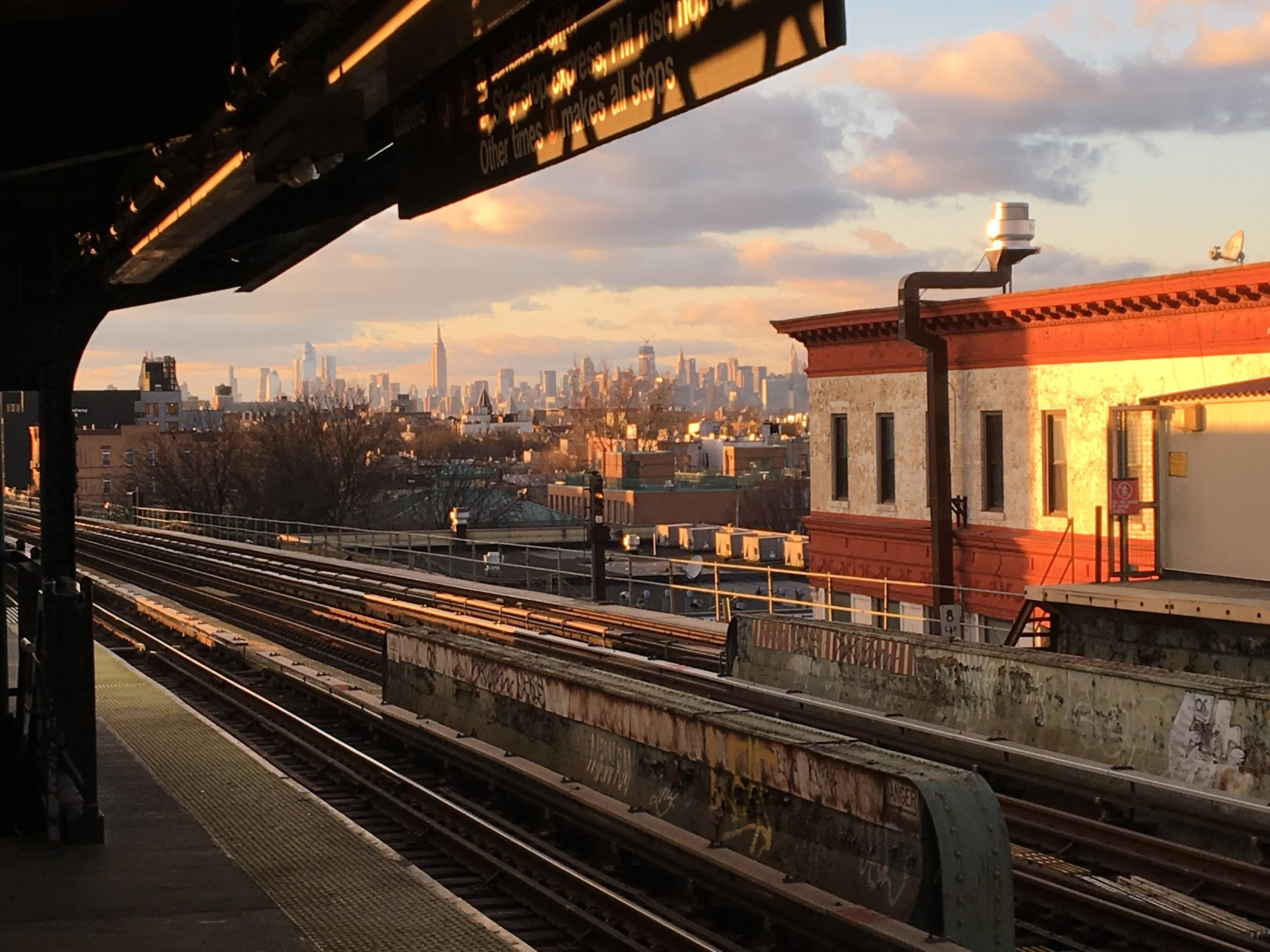 Looking at Manhattan from a subway station in Brooklyn.