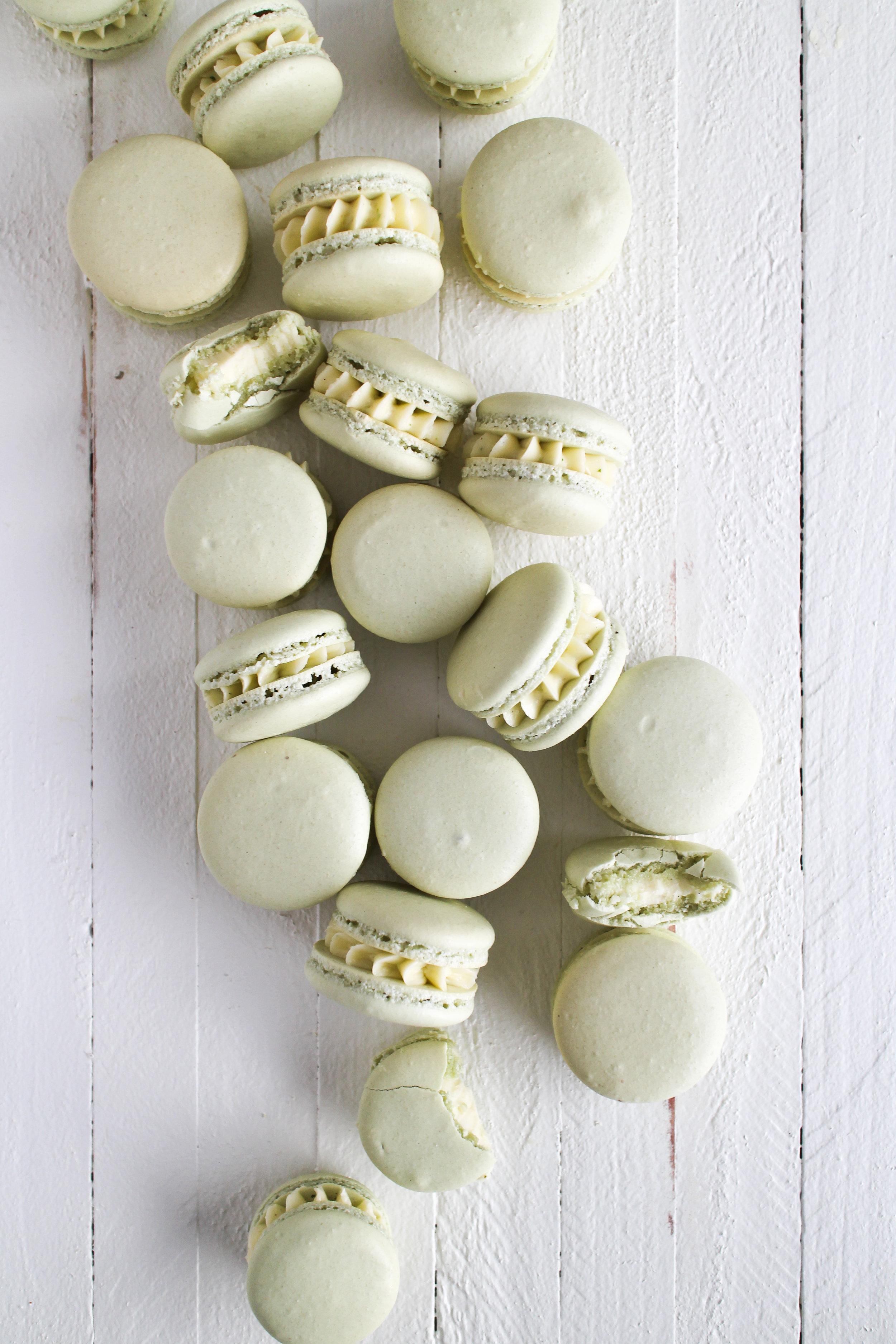Kaffir Lime Macarons - classic vanilla shell with kaffir lime infused german buttercream by Fox and Crane