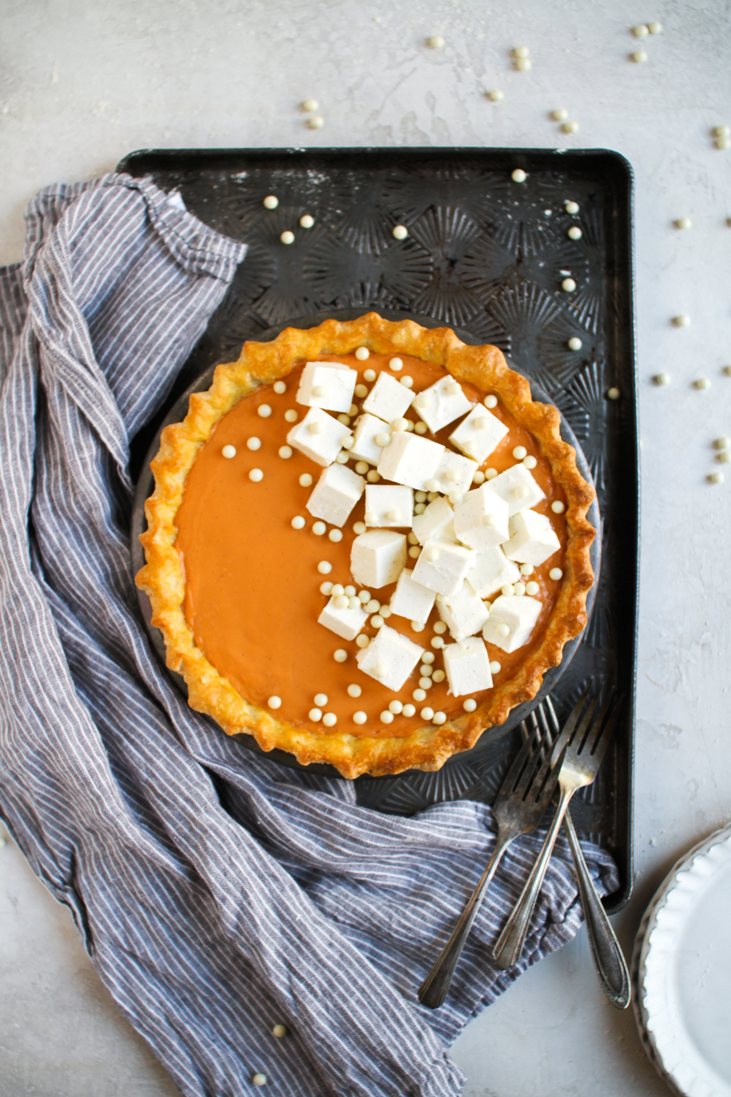"""Thai Iced Tea Pie with Whipped Cream """"Ice Cubes - classic flaky pie crust filled with rich thai iced tea custard cream filling and chilled vanilla bean whipped cream cubes by Fox and Crane - foxandcrane.com"""