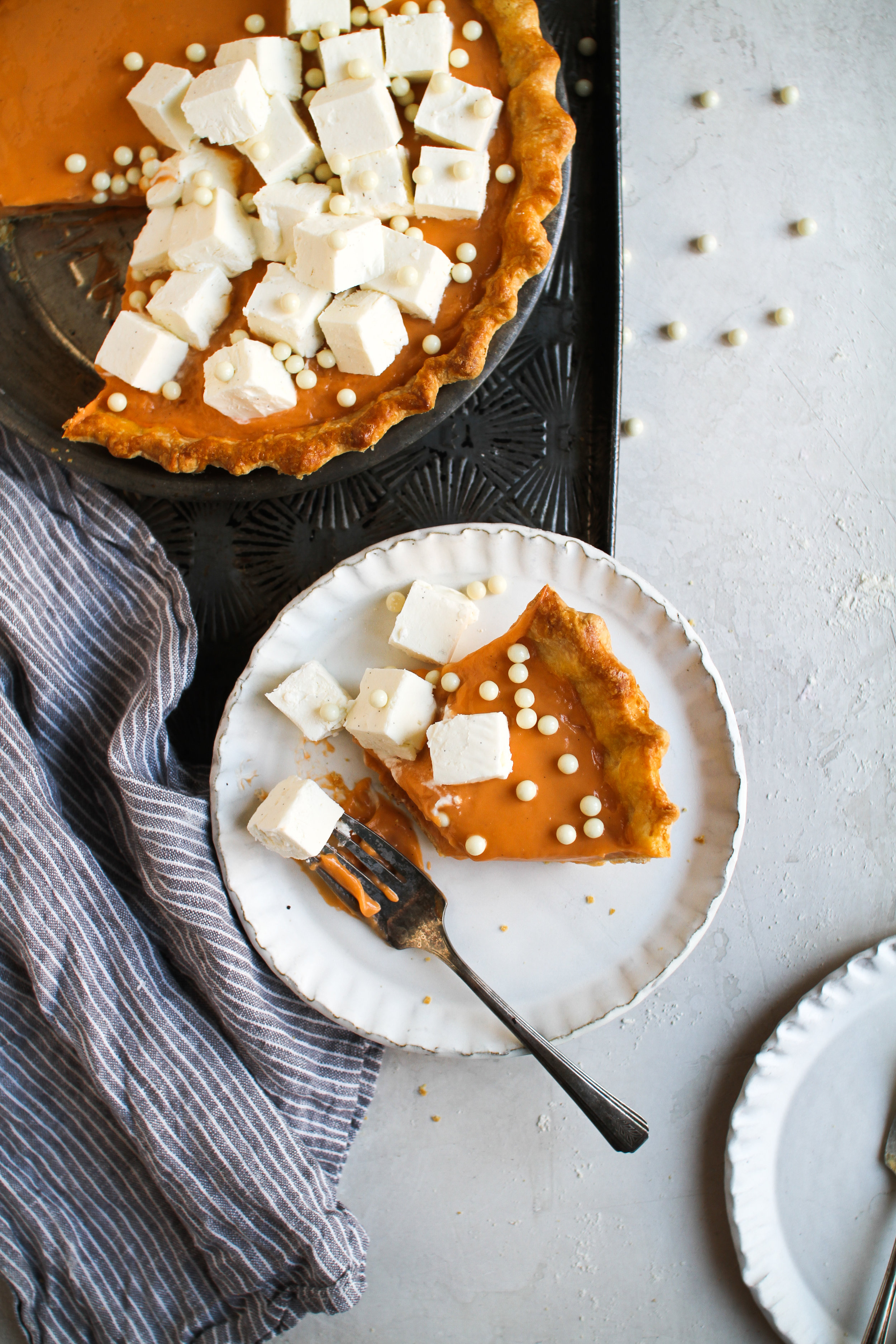 "Thai Iced Tea Pie with Whipped Cream ""Ice Cubes - classic flaky pie crust filled with rich thai iced tea custard cream filling and chilled vanilla bean whipped cream cubes by Fox and Crane - foxandcrane.com"