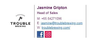 Jasmine Gripton - Head of Sales84271096jasmine@troublebrewing.com