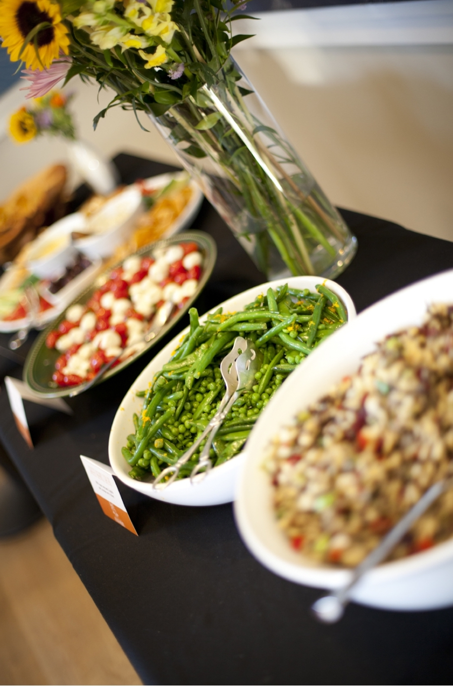 Food displayed on a table for an event