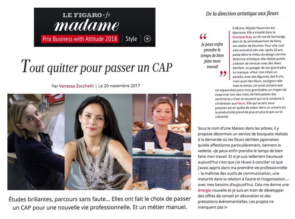 """""""De la direction artistique aux fleurs"""" le Figaro Madame, novembre 2017"""