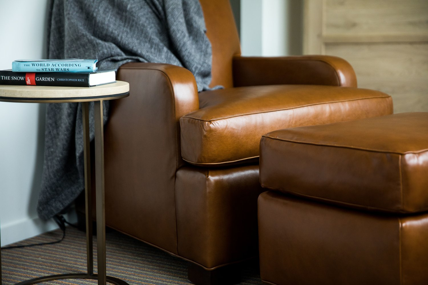 Signature Leather Chair and Ottoman, The Study at University City