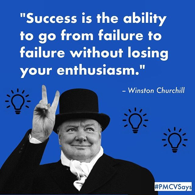 Good luck to our seniors hearing back on EA and ED decisions this week. 💫 Thursday's pep talk comes courtesy of the late great Winston Churchill. ☺️ Celebrate and stay positive friends! 💯 #PMCVsays