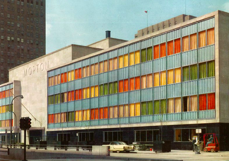 1958 postcard from US Steel promoting the stainless steel spandrel panels of the Morton Salt Headquarters, with the original colored curtains.