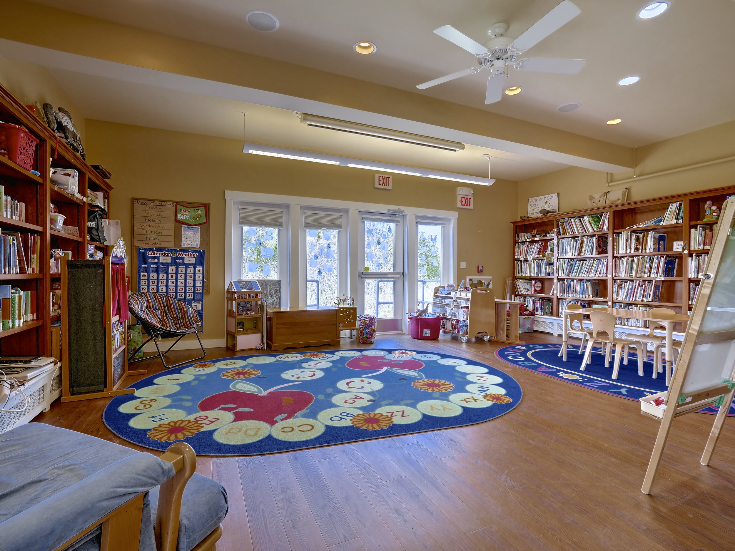 Children's Room: Fiction, Non-Fiction, DVDS, AUdiobooks, puzzles, games, toys.