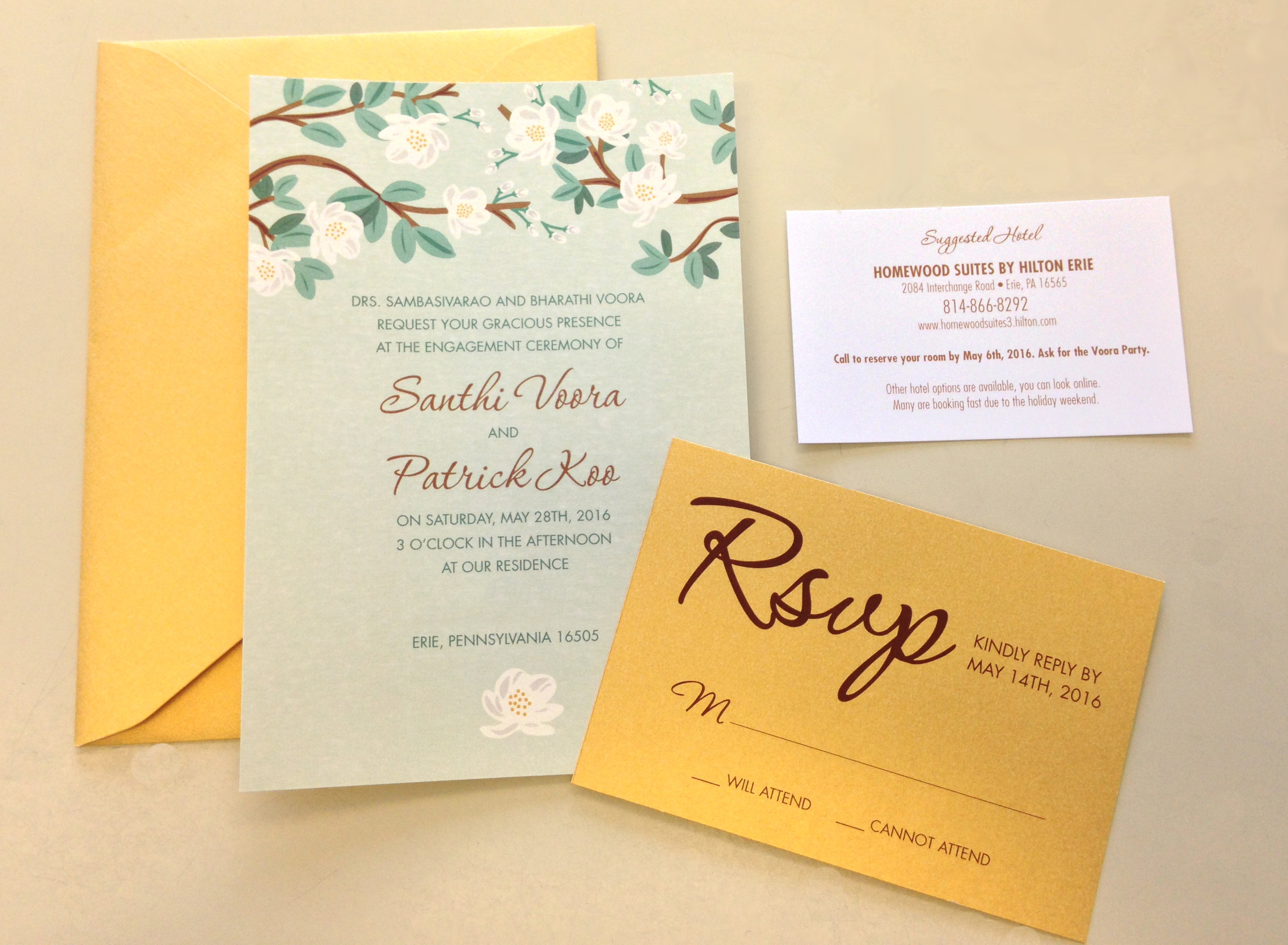 INVITATION SUITE WITH SHIMMER STOCK & COLORED ENVELOPES