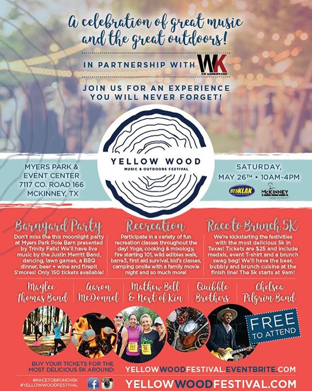 We're excited to partner with @prestige_cu to bring this cool event to Mckinney, Texas!!! ☀️🎶 Join us at the FREE family friendly festival on Saturday, May 26th! #prestigeccu #mckinney #texas #yellowwoodfestival #livesimply #optoutside #dallasoutdoors #dallasmorningnews #thewarriorskeep #myerspark #racetobrunch5k #barnyardparty #trinityfalls