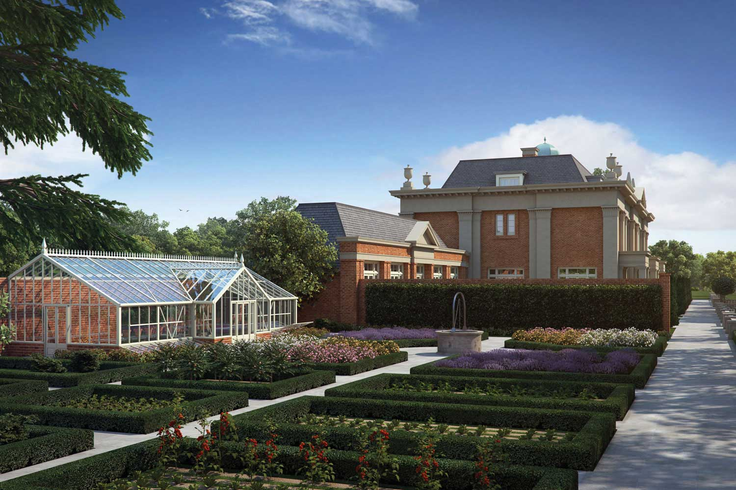 Architectural visualisation of a new country estate house and garden