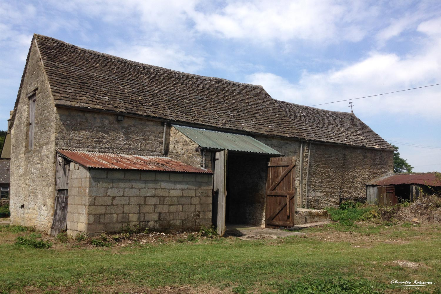 Photograph of the existing range of barns