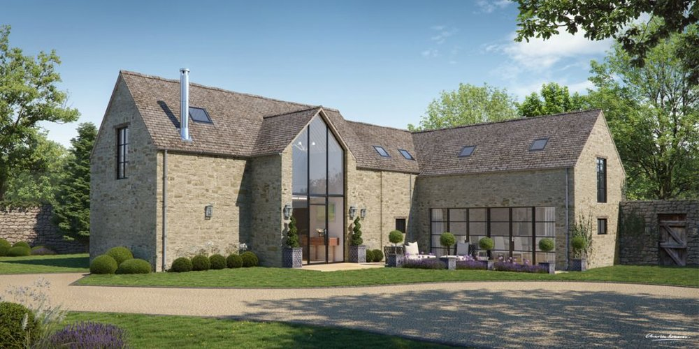 Computer generated image of the proposed barn conversion by Charles Roberts Studios