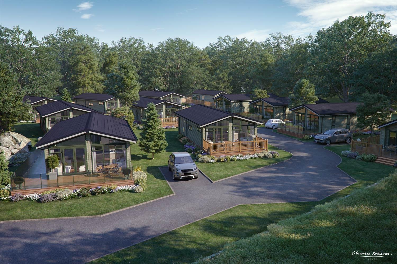 Elevated CGI of Luxury Lodge Development