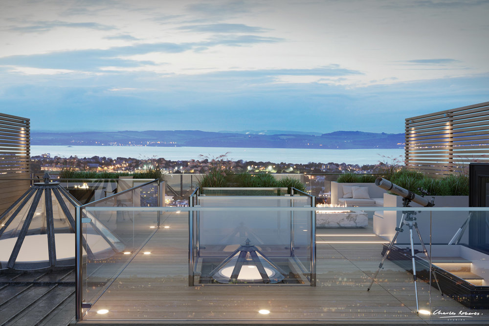 Artists impression of a rooftop terrace
