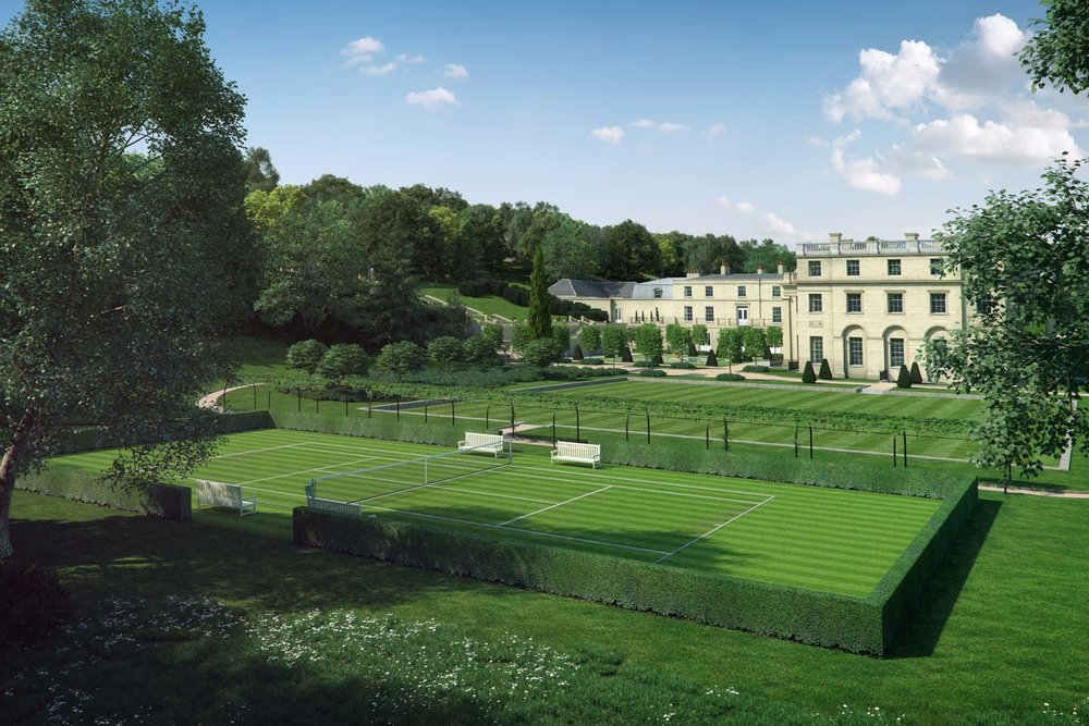 Artist impression of view across tennis courts to Benham Park