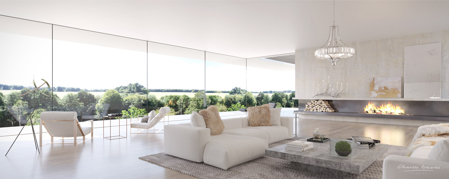 Property CGI interior living room showing glazed wall overlooking garden