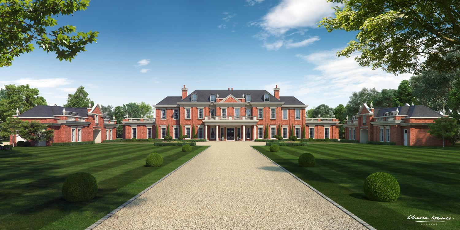 Artists impression of the front elevation and grounds
