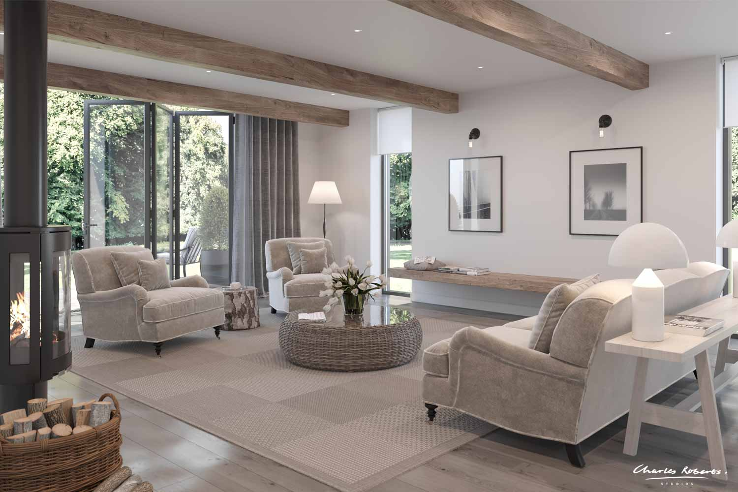 Artists impression barn conversion interior design