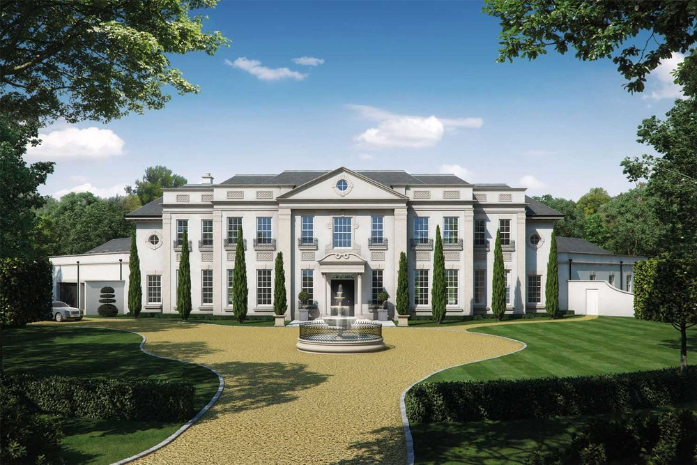 Artists impression of a new mansion in Surrey