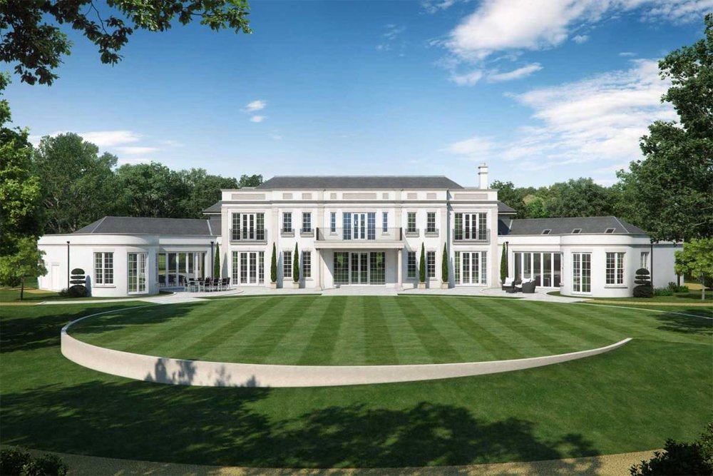 Artist impression of the garden view of a new mansion in Surrey