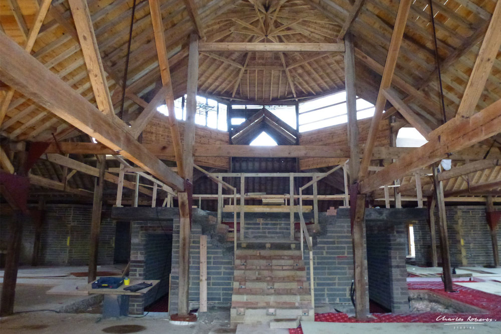 Photograph of the interior of the barn during the conversion