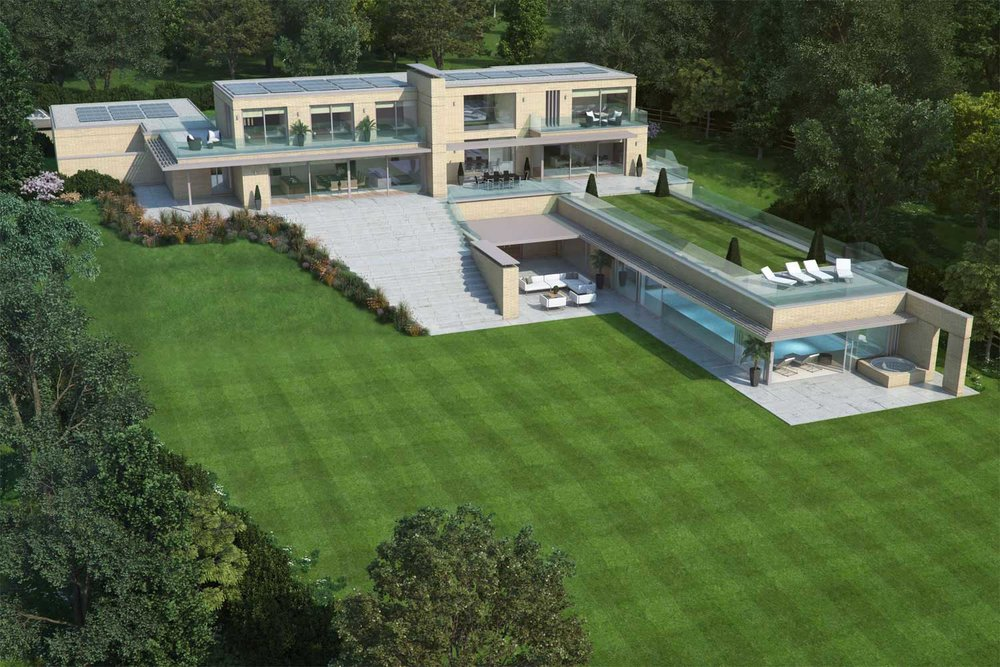 Aerial architectural visualisation of the house