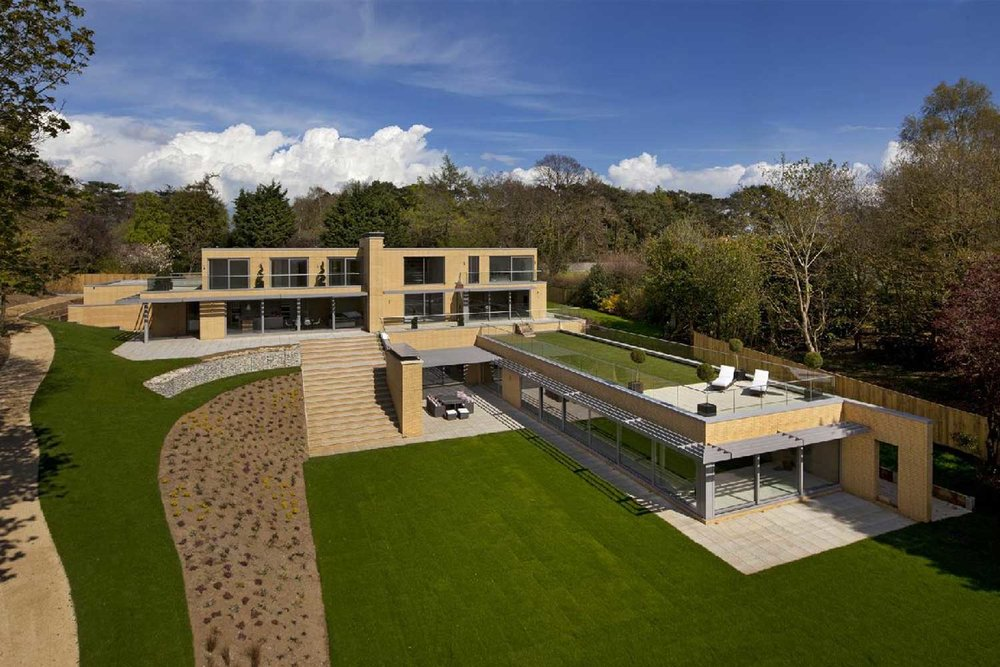 Drone photograph of the completed house