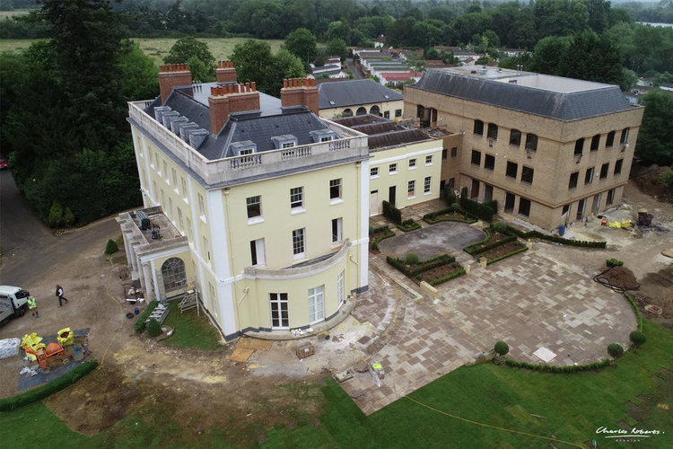 Drone photograph of existing property and works