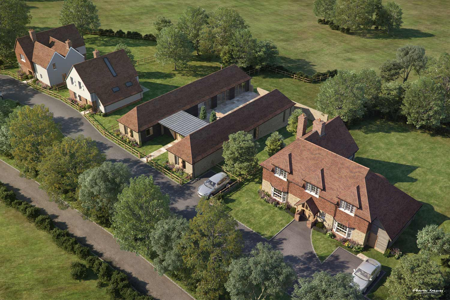 Aerial 3d visualisation of a new development