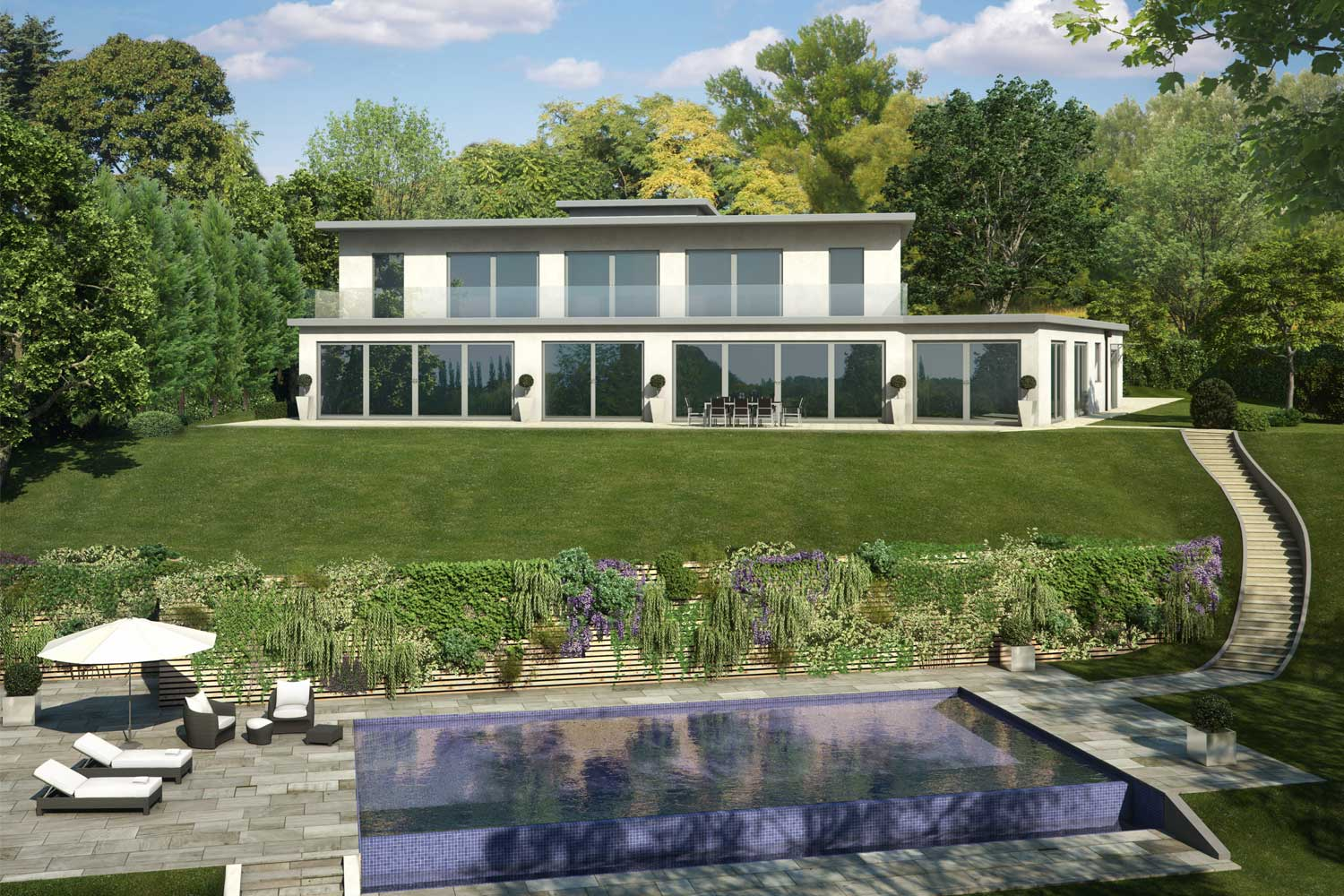 Property CGI of pool and garden