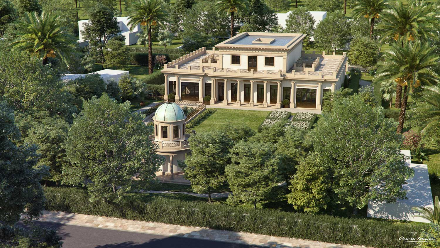Aerial 3d visualisation of new presidential headquarters