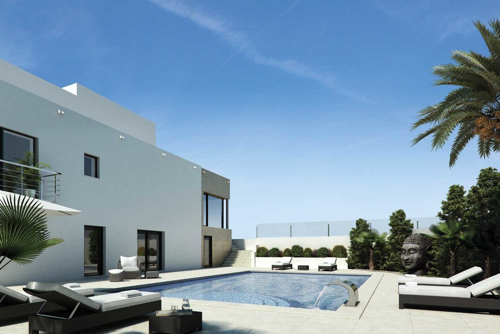 Architectural visualisation of the house and outside pool area