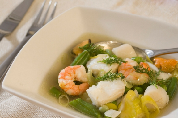 light fish broth with mixed beans and dill -