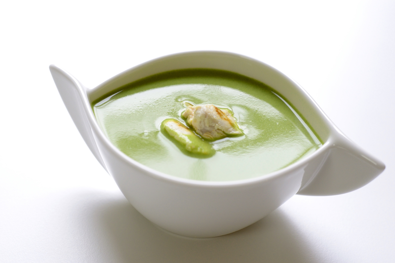 parsley soup with chicken 'nuggets' -