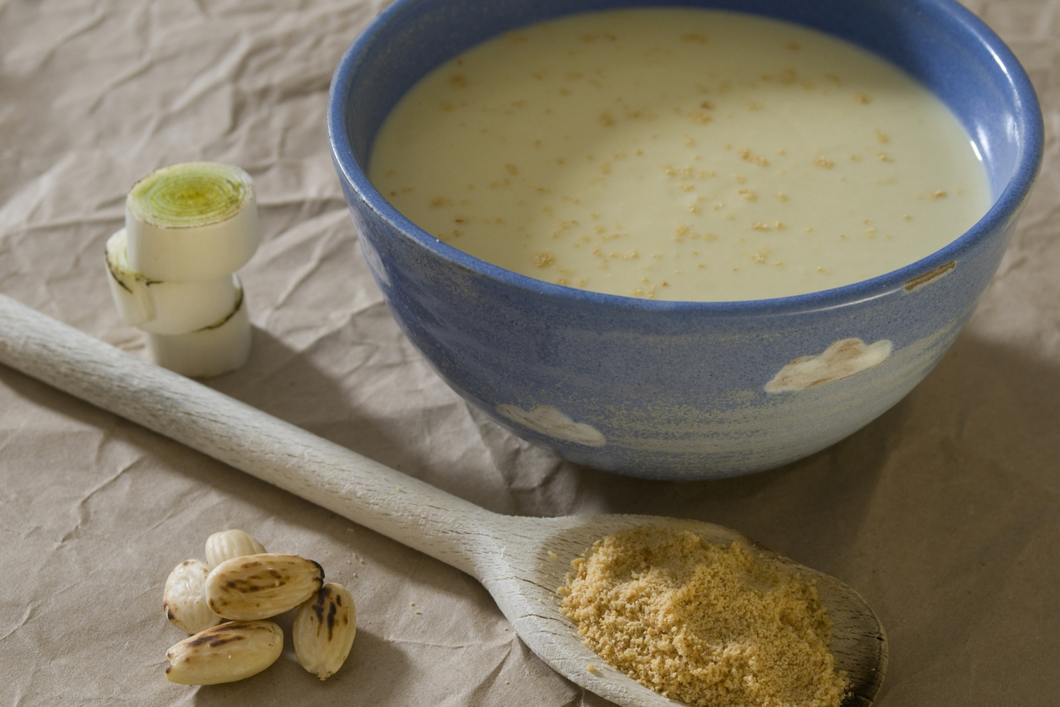 apple, almond, leek and celery soup with toasted crumbs -