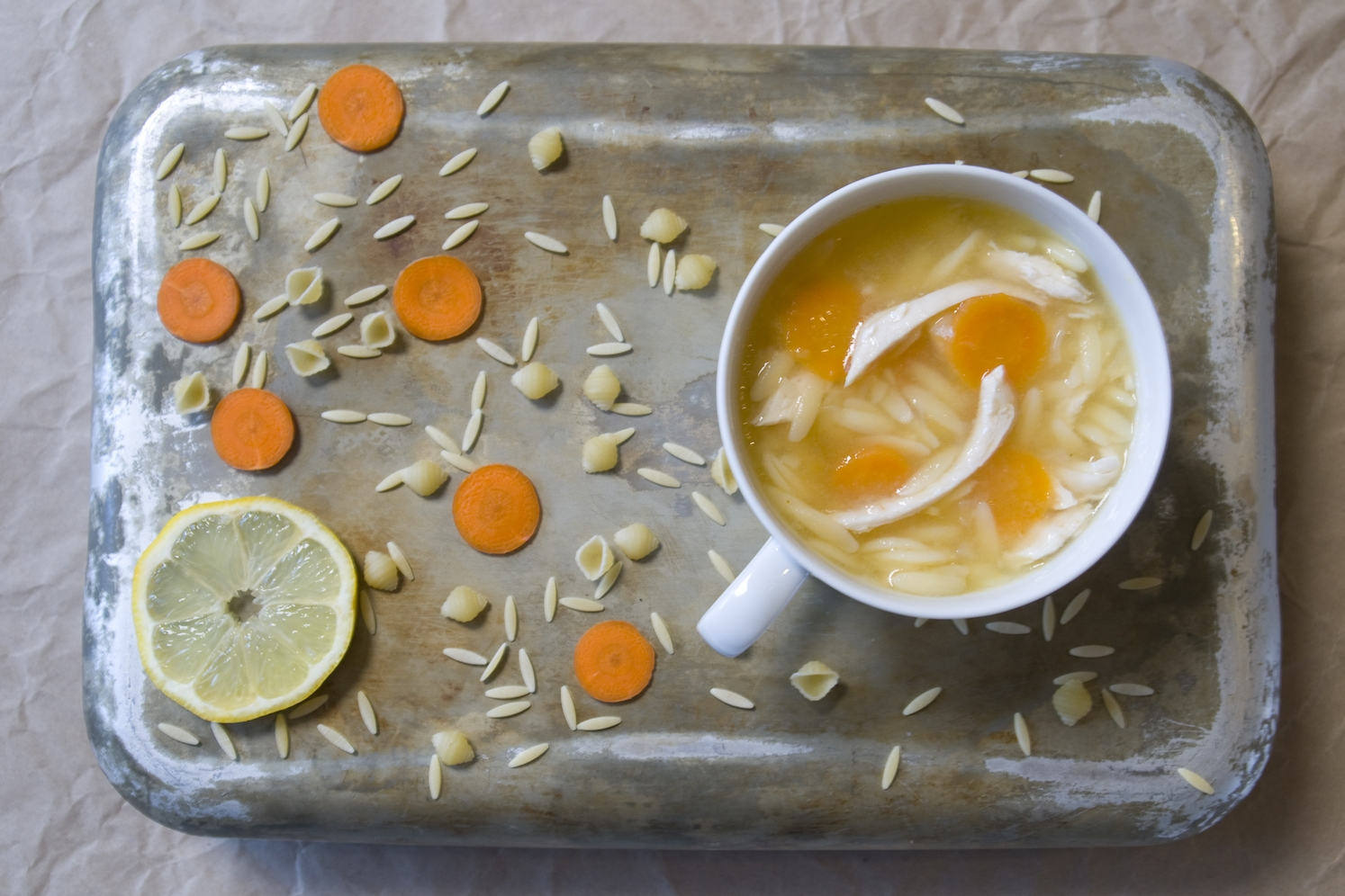 lemon chicken soup with carrots and orzo -