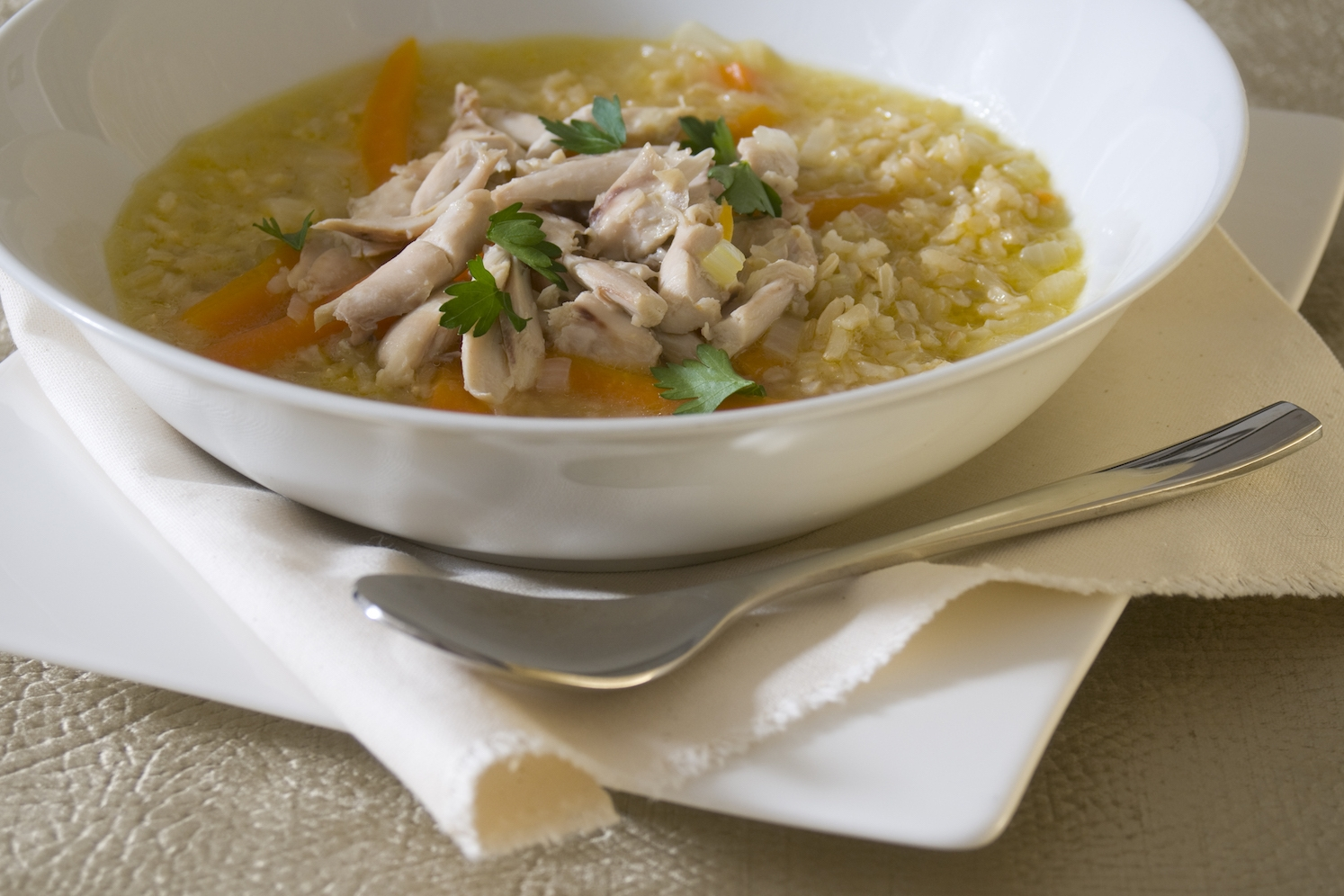 deliciously-light chicken and/or lentil broth -