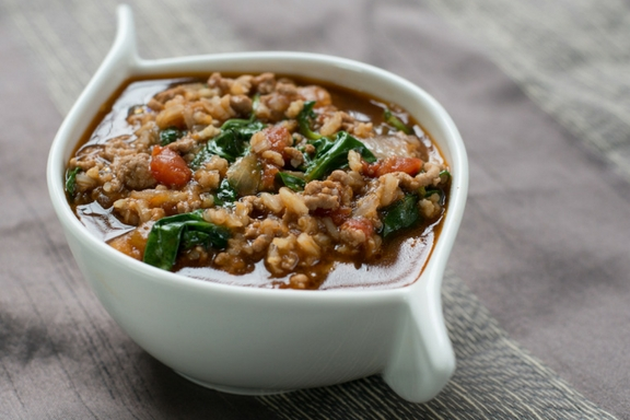 lamb and rice soup with spinach and tomatoes -