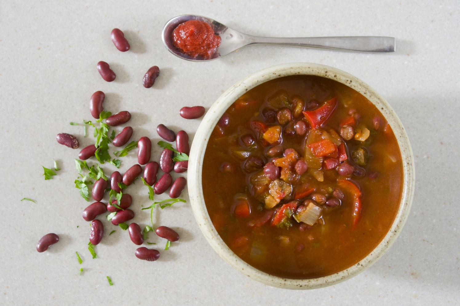 adzuki bean soup with red pepper and mushrooms -