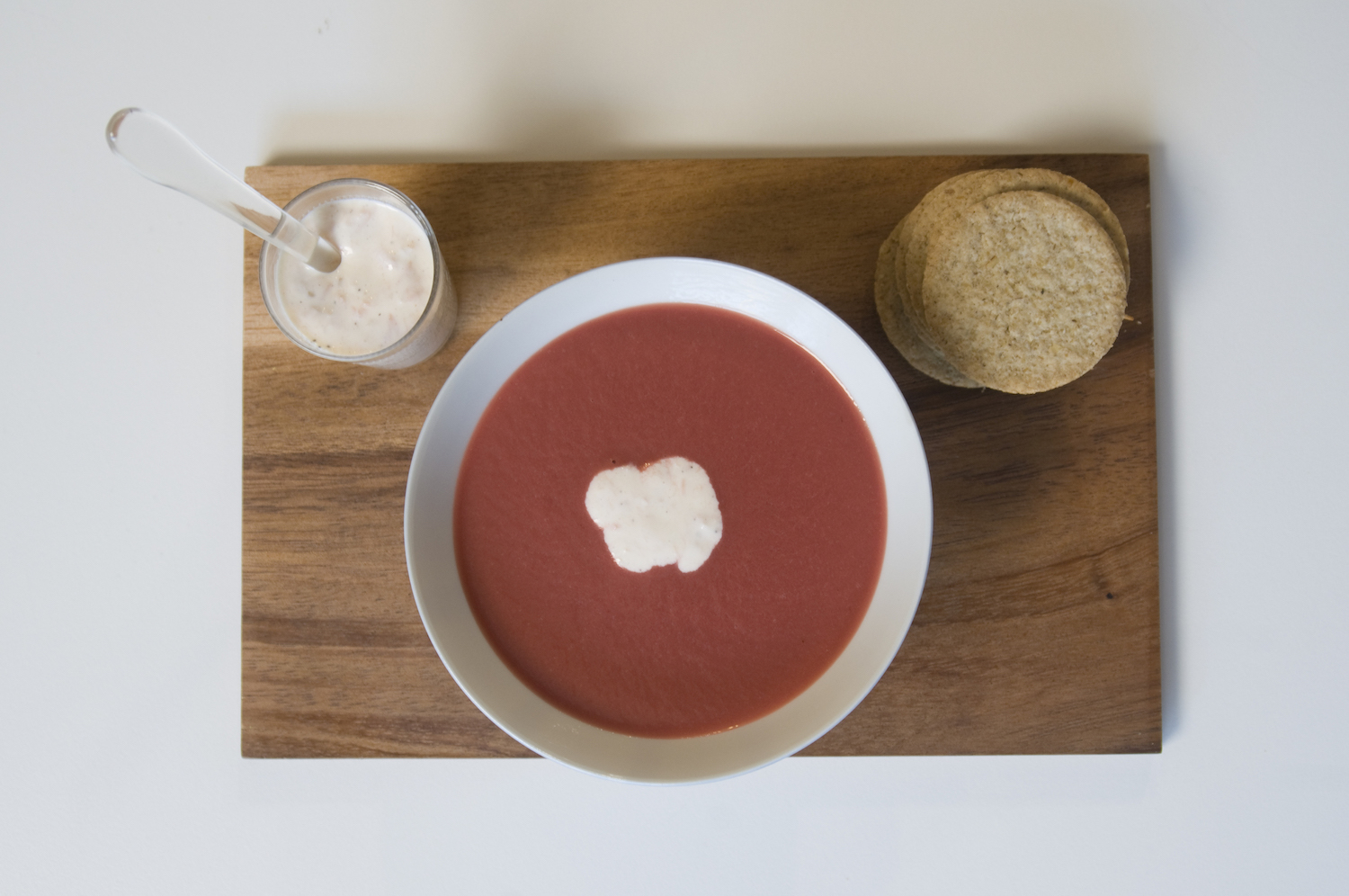 Beetroot and Horseradish Soup with Hot Smoked Salmon Cream