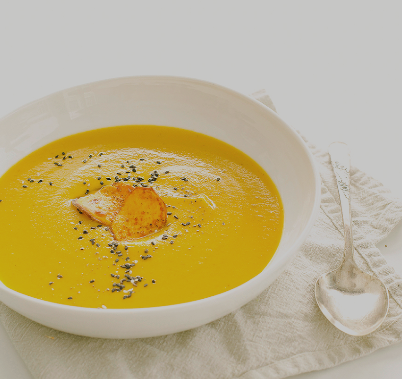 sweet potato soup with coriander & blood orange -