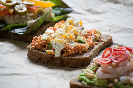 open sandwiches with loads of great toppings -