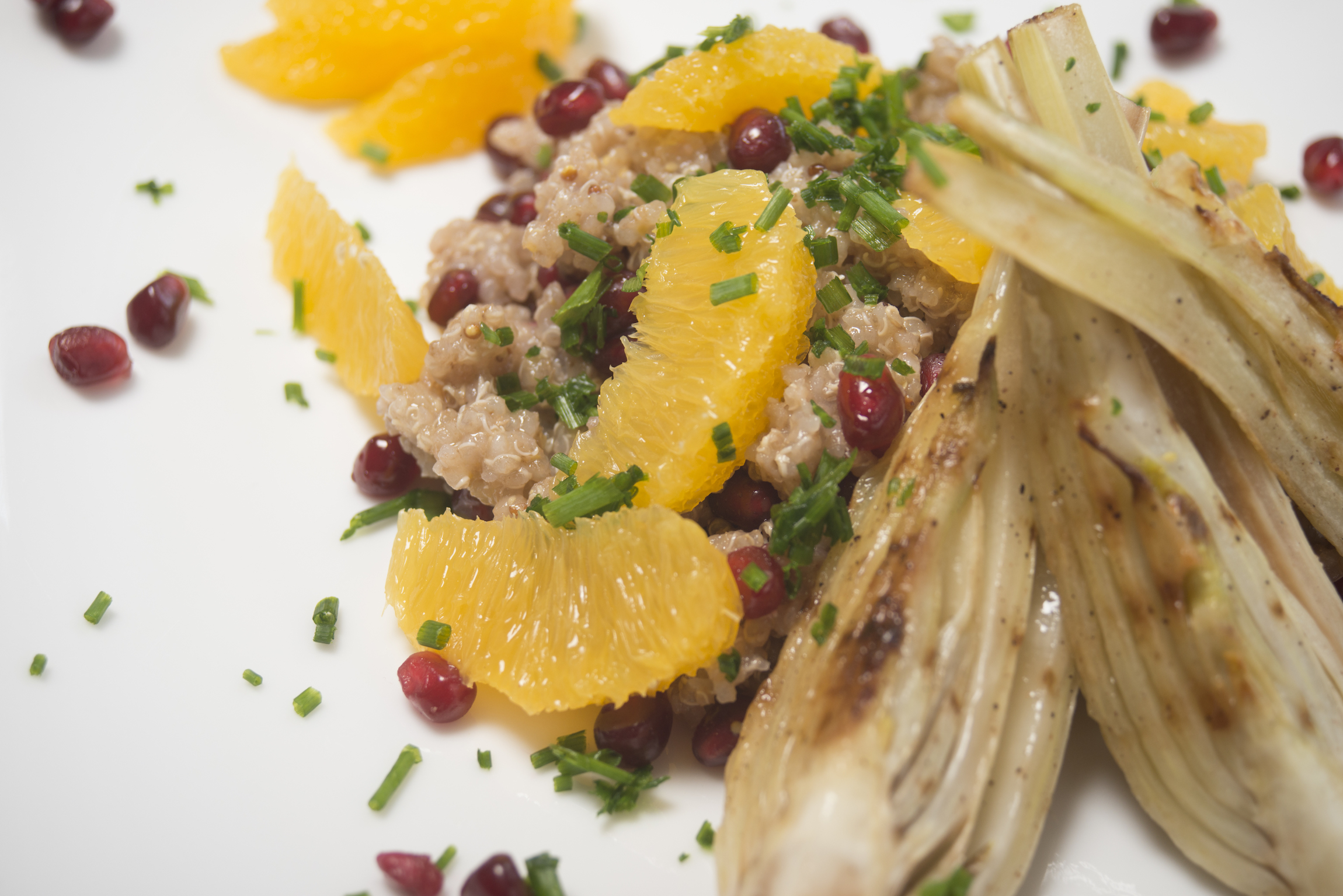 quinoa and fennel salad with orange and pomegranate -