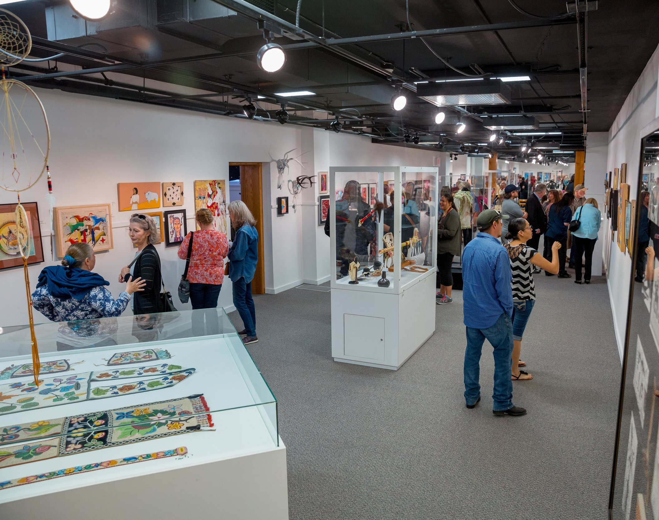 About the Show - The Heritage Center at Red Cloud Indian School hosts the Art Show for ten weeks each summer. All the artwork is for sale, with the proceeds used to support individual artists as well as the work of The Heritage Center.The start of the Art Show is marked with a special opening event will be held on Saturday, June 1. Participating artists will be on site to discuss their work and anyone is welcome to attend.Special Preview and Opening Event: Saturday, June 1, Noon to 5 pm.The gallery is open 7 days a week throughout the summer.The show will remain on display from June 2 through to August 11, Mon–Sat, 8 am to 6 pm, Sun 10 am to 5 pm.All visitors are free to visit the gallery and gift shop during The Heritage Center's regular hours. Tours of Red Cloud's historic campus are also available.