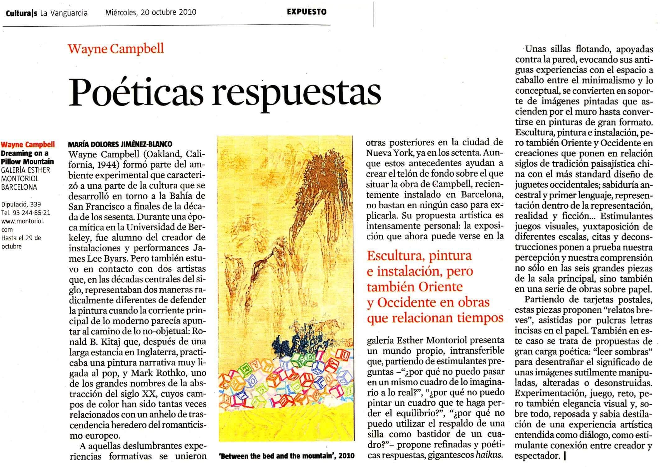 La Vanguardia Culturals Wayne E Campbell feature 10 Oct 2010.jpg